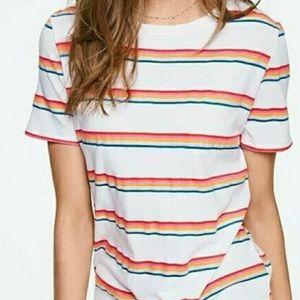 Victoria's Secret Pink Rainbow Striped Tshirt
